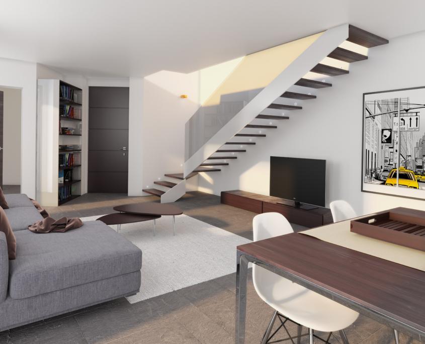 villa singola soggiorno